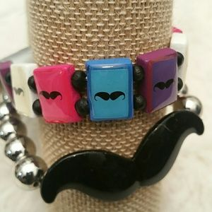 NWT**Hot Topic Accessories Mustache Bracelets set